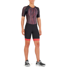 2XU Compression Sleeved Trisuit Women black/vertical curve watermelon